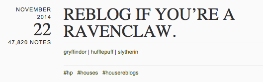 Reblog if you're Ravenclaw